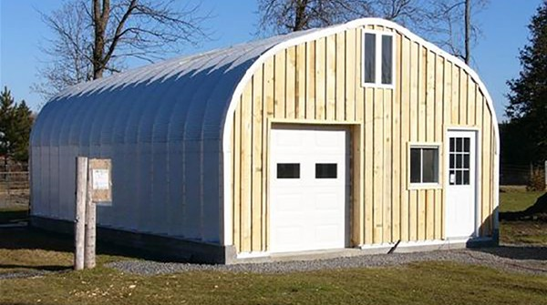 Quonset Workshop with Wooden Accent Wall