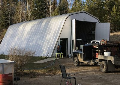 Example of one of our quonset hut ecnospan garage kits for sale