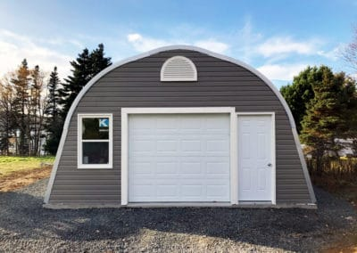 Example of one of our Quonset hut Alpine model garage packages for sale
